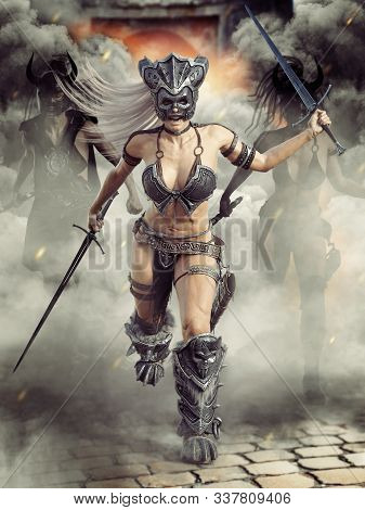 Fierce Armed Barbarian Female Warriors Charging Into Battle With There Leader In Front .3d Rendering