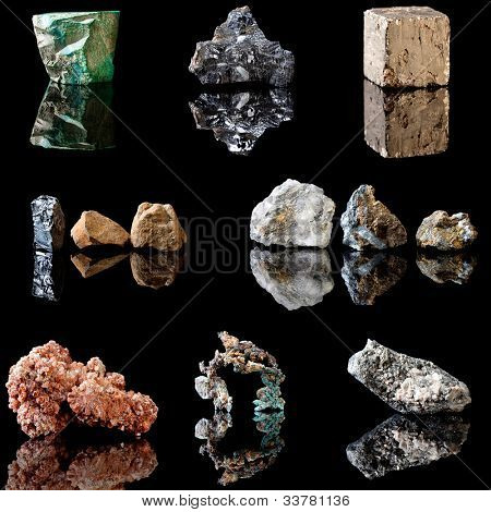 Series of metal containing minerals in rough unpolished state.  Malachite, Galenite, Pyrite, Hematite, Chalcopyrite, Vanadinite, Copper and Arsenopyrite