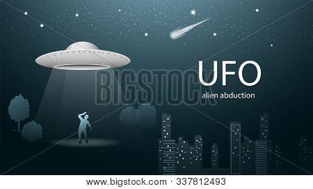 Flying Saucer Ufo Kidnaps Man Beam Of Light Banner Design In Dark Blue Background Illustration Night