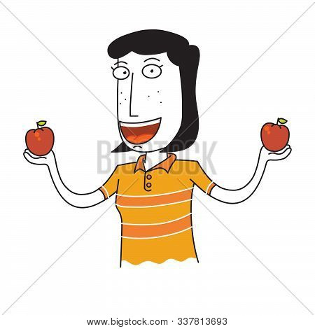 Illustration Of A Woman Hold Two Apples