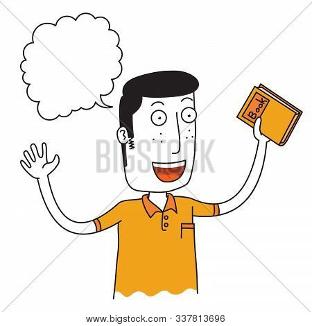 Illustration Of A Boy Hold A Book Happily