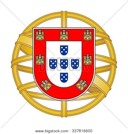 Сoat Of Arms Portugal. Isolated Symbol On White Background. Vector Illustration