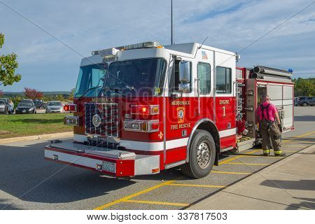 Merrimack, Nh, Usa - Oct. 14, 2018: Fire Truck In Fire Department In Merrimack, New Hampshire, Usa.