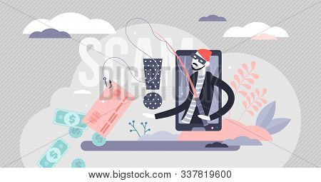 Scam Vector Illustration. Hacker Fraud Alert In Flat Tiny Persons Concept. Money And Credit Card Inf
