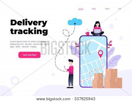 Online Delivery Service Concept, Online Order Tracking, Shipment And Delivery, Online Cargo Tracking