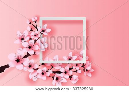 Illustration Of Paper Art And Craft White Frame Spring Season Cherry Blossom Concept,springtime With