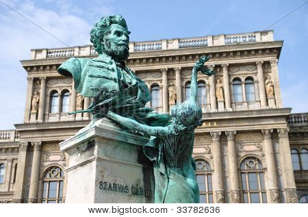statue of Gabor Szarvas, the linguist, was the first to fight for the Hungarian language culture, Budapest