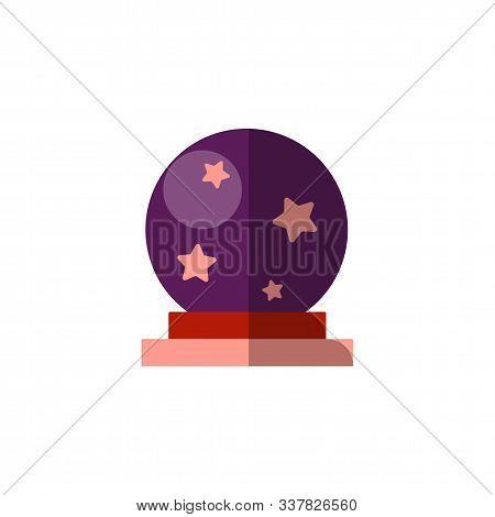 Vector Flat Illustration Of Magic Ball. Spiritual Magical Ball For Profesy The Future. Magician Elem