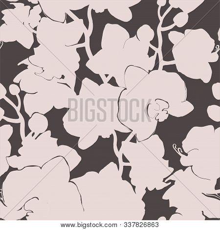 Monochrome Spotted Floral Seamless Pattern With Silhouettes Of Light Tropical Flowers Orchids On Dar