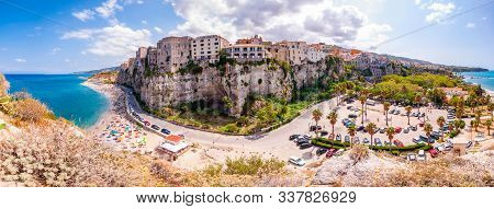 Tropea, Calabria, Italy - September 07, 2019: Tropea Cityscape Panorama With High Cliffs With Built