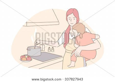 Happy Motherhood, Babysitting, Housework Concept. Young Mother With Little Daughter Cooking Food, Sm