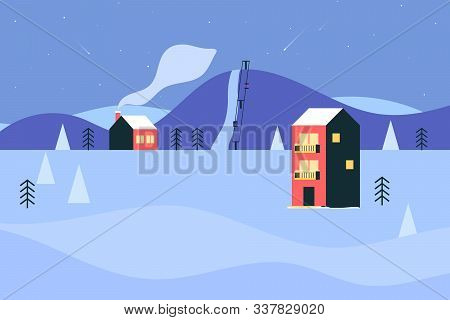 Winter Ski Resort With Hotel And Ski Lifts. Ski Track In The Mountains, Winter Landscape. Vector Ill