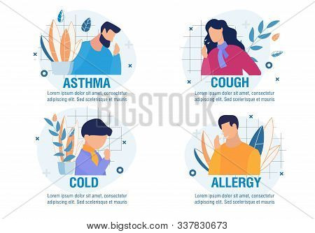 Different Types Of Disease With Coughing Symptom. Cartoon Sick People Characters Set. Asthma, Cold,