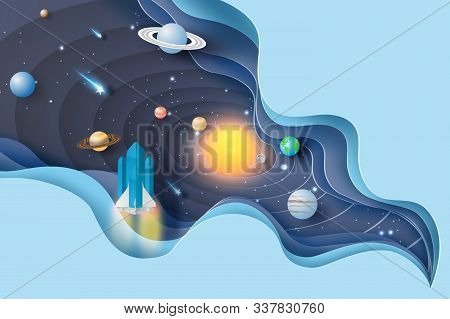 3d Paper Art Of Abstract Curve Wave With Launch Rocket Startup For Solar System Circle.galaxy Space