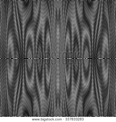 Reticulate seamless abstract linear texture with ornate moire effect illusion. Monochrome raster wavy geometric background for web design, image for blog, cover, mobil aplycation, business card. poster