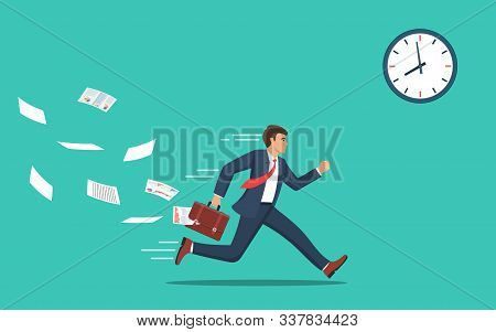Businessman Running And Hurry Up. Businessman Running With Falling Papers From Briefcase Time Manage
