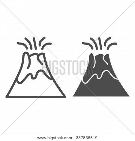 Volcano Line And Glyph Icon. Magma Erupting Vector Illustration Isolated On White. Nature Outline St
