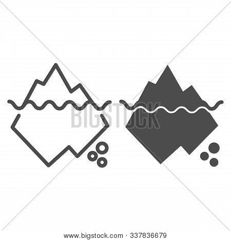 Iceberg In Water Line And Glyph Icon. Berg Vector Illustration Isolated On White. Antarctic Outline