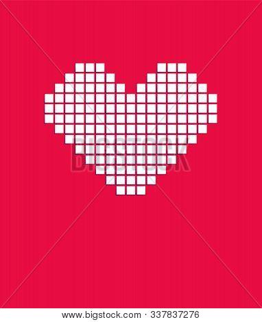 White Pixel Love. Heart Icon. Logo Design