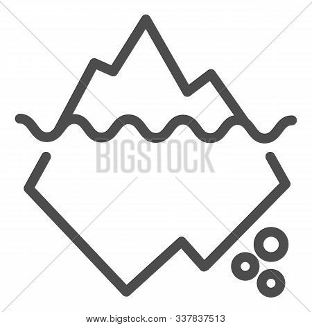Iceberg In Water Line Icon. Berg Vector Illustration Isolated On White. Antarctic Landscape Outline