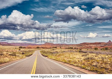 Scenic Road In Canyonlands National Park, Color Toning Applied, Utah, Usa.