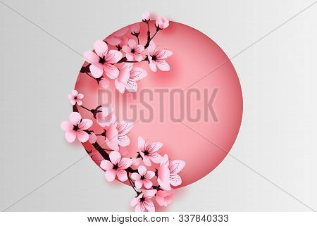 Illustration Of Paper Art And Craft Circle Decorated Spring Season Cherry Blossom Concept,springtime
