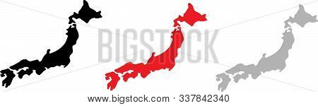Japan Map Icon For Web Design Isolated On White Background