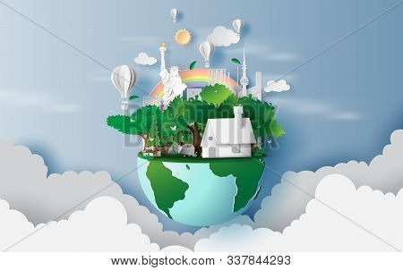 Illustration Of Houses In Green Forest,creative Design World Environment And Earth Day Concept Idea.