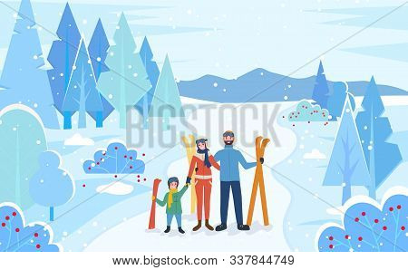 Family Stand Together In Winter Snowy Forest. Mother, Father And Child With Skis. People Ready To Go