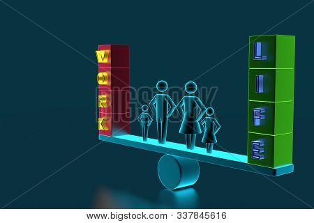 Couple Protecting Work And Life Balance With Family Figures Standing Between Them On Seesaw. 3d Pers