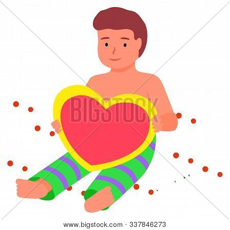 Photozone With Kid Vector, Isolated Kiddo Sitting On Ground With Confetti Flat Style. Character With