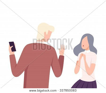 Man and Woman Experiencing Unrequited Feelings, One Sided or Rejected Love Flat Vector Illustration poster