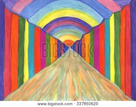 The Rainbow World, The Stream Of Consciousness, The Light At The End Of The Tunnel. Abstract Gouache