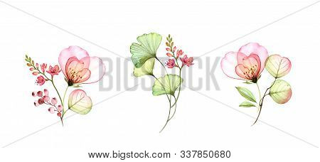 Watercolor Transparent Rose Bouquets. Colourful Floral Collection Isolated On White. Botanical Flora