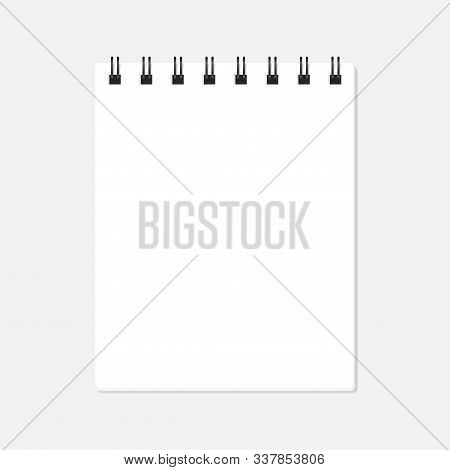 Vector Illustration Of Open Spiral Block Note. Empty Page With Copy Space Isolated On White. Dark Me