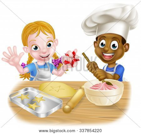 Cartoon Boy And Girl Kids, One Black One White, Dressed As Chefs Or Bakers Baking Cakes And Cookies