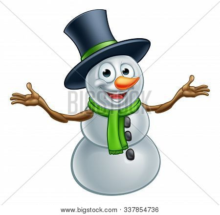 A Happy Christmas Snowman Cartoon Character In A Top Hat