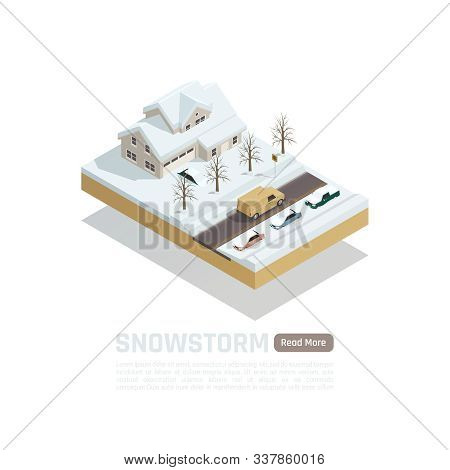 Isometric Colored Natural Disaster Composition With Snowstorm And Snow Covered Roads And Houses Vect