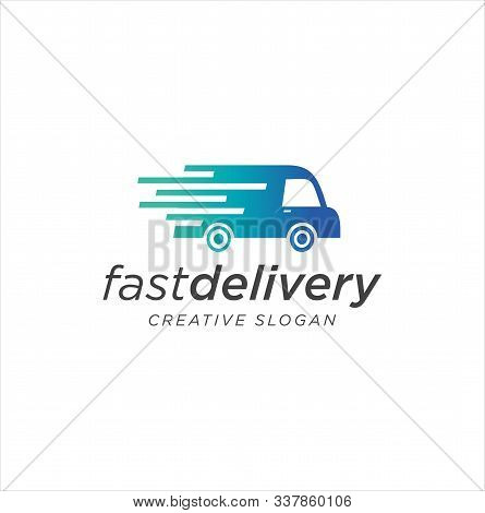 Fast Delivery Logo Design Vector Illustration . Delivery Truck Logo . Delivery Truck Icon Cargo Van
