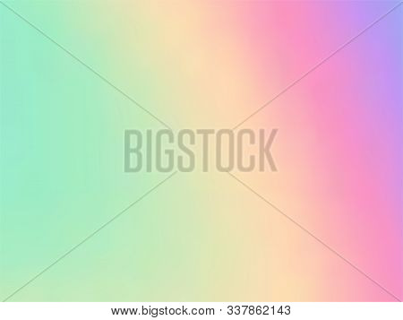 Blurred Hologram Texture Gradient Wallpaper. Stylish Pastel Rainbow Unicorn Background. Liquid Color