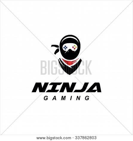 Ninja Gaming Logo Design Vector Illustration . Ninja Mascot Logo Gamer . Ninja Esports Logo