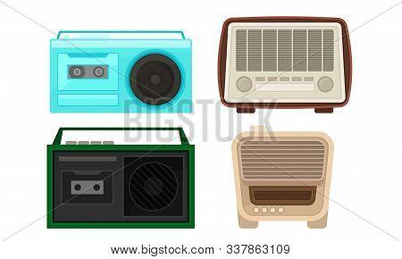 Old Radio And Cassette Player Collection, Vintage Obsolete Digital Handheld Devices Vector Illustrat