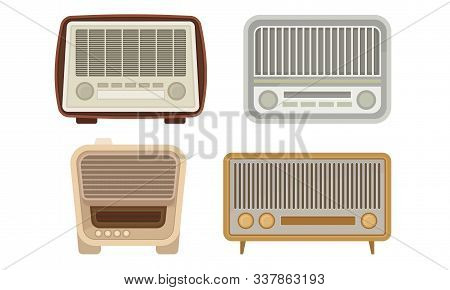Old Analog Radio Collection, Vintage Obsolete Digital Handheld Devices Vector Illustration