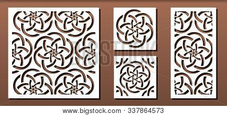 Set Of Laser Cut Panel Templates With Geometric Pattern.  For Metal Cutting, Wood Carving, Panel Dec