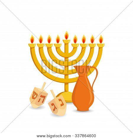 Jewish Holiday Of Hanukkah, Hanukkah Menorah, Traditional Nine-branched Candelabrum, Jug Of Olive Oi