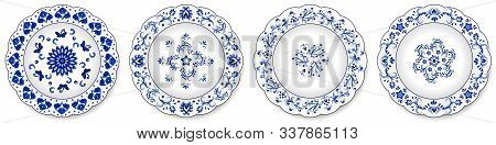 Set Of Blue Porcelain Plates. Decorative Ceramic Plates Ornate With Traditional Floral Pattern, Chin
