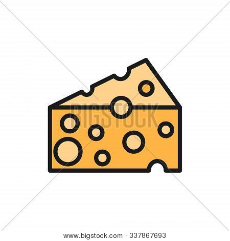 Italian Cheese, Parmesan Flat Color Line Icon. Isolated On White Background