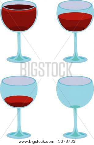 Four Vector Wineglasses On White.