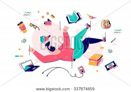 Young Bearded Man Fall In Bustle With Food, Device And Book. Isolated Concept Student Character In M