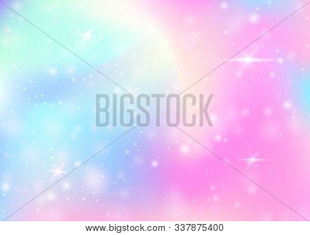Hologram Background With Rainbow Mesh. Girlish Universe Banner In Princess Colors. Fantasy Gradient